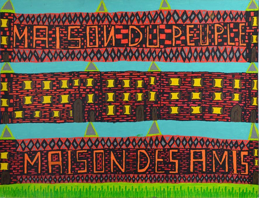 Louis Poulain, sans titre (Maison du peuple -maison des amis), nd, peinture acrylique sur carton, 55 x 73 cm