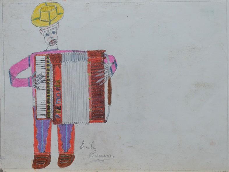 Oscar Haus, Émile Carrara, nd, crayons de couleur sur papier, 15 x 21 cm