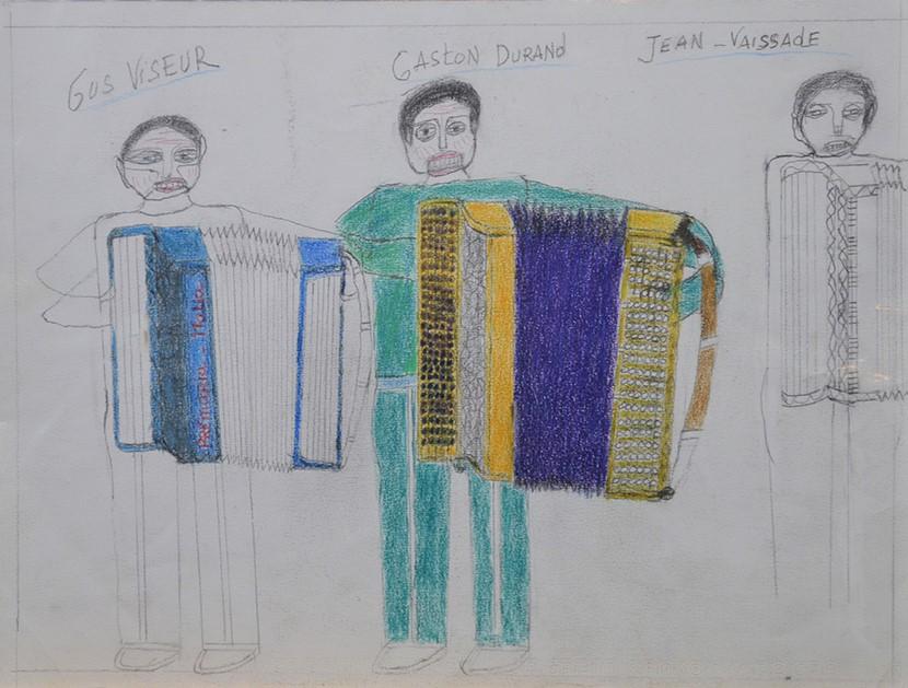Oscar Haus, Gus Viseur, Gaston Durand et Jean Vaissade, nd, crayons de couleur sur papier, 15 x 21 cm