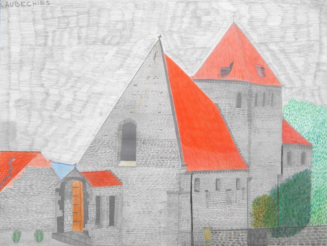 Maurice Brunswick, Eglise d'Aubechies, 2006, crayon de couleur sur papier, 55 x 73 cm_1