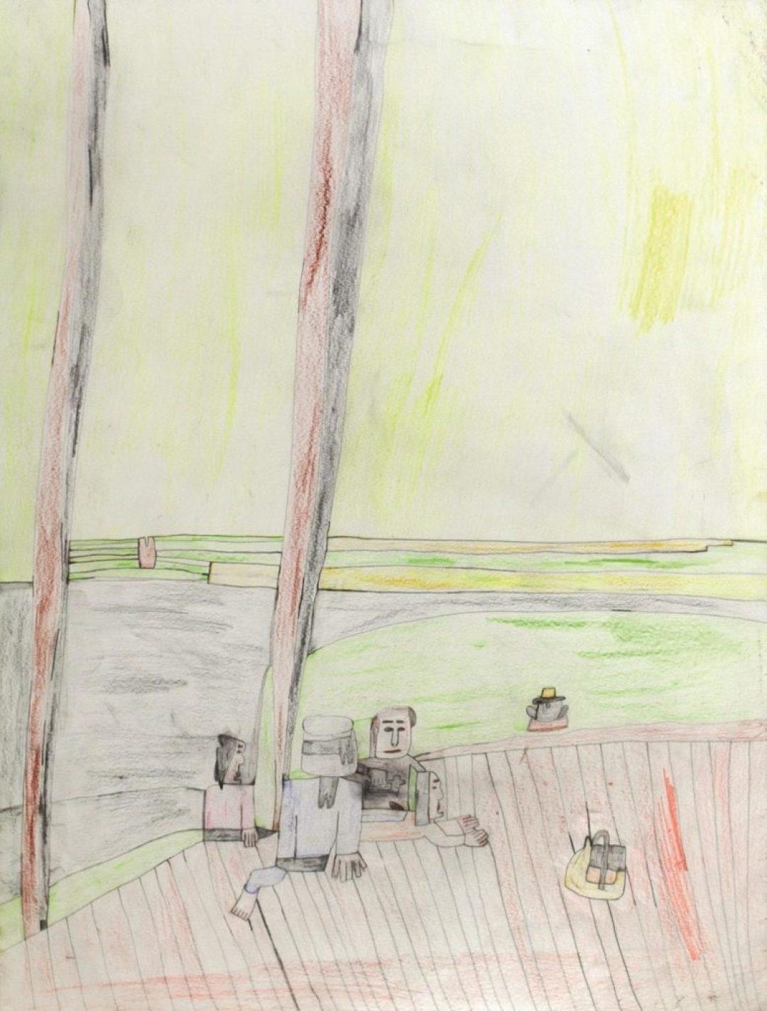 Alexis Lippstreu, Sans titre, 2014, crayons de couleurs sur papier, 73 x 55 cm