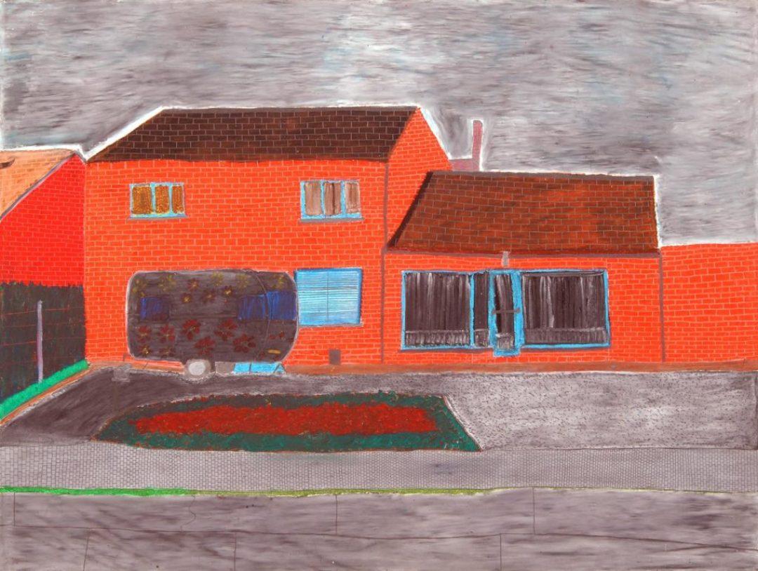 Maurice Brunswick, Maison d'Hector à Bliquy, 2001, crayon de couleur sur papier, 55 x 73 cm_1