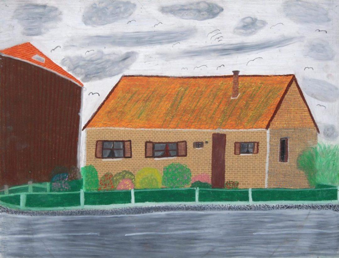 Maurice Brunswick, Maison à Ellignies-Sainte-Anne, 2000, crayon de couleur sur papier, 55 x 73 cm_1