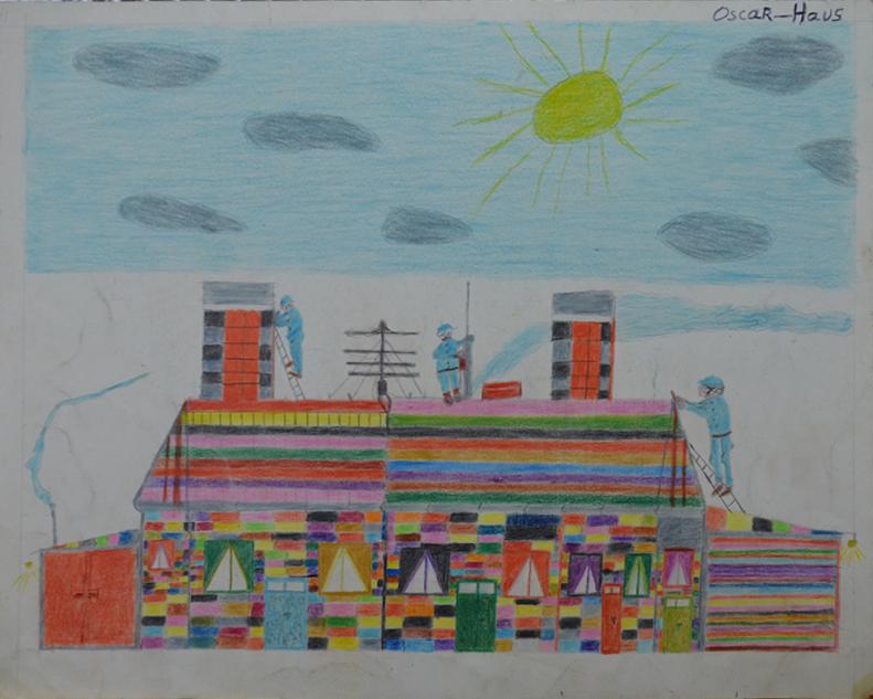 Oscar Haus, sans titre, nd (ca 2000), crayons de couleur sur papier, 30 x 40 cm_