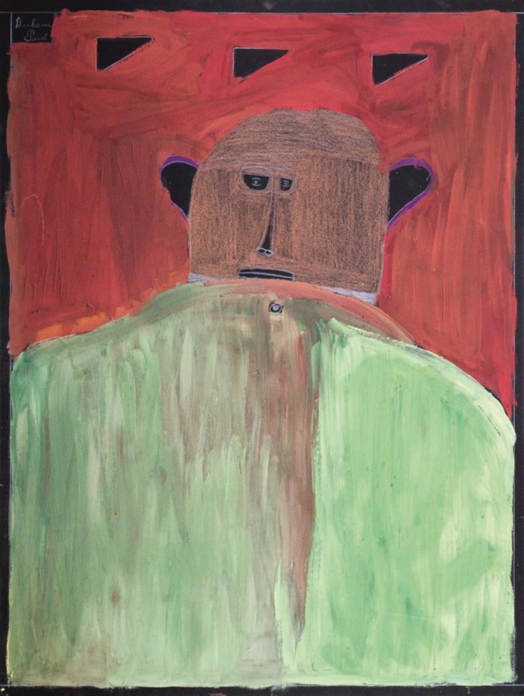 Paul Duhem, sans titre, 1999, crayon de couleur et peinture à l'huile sur papier, 65 x 50 cm