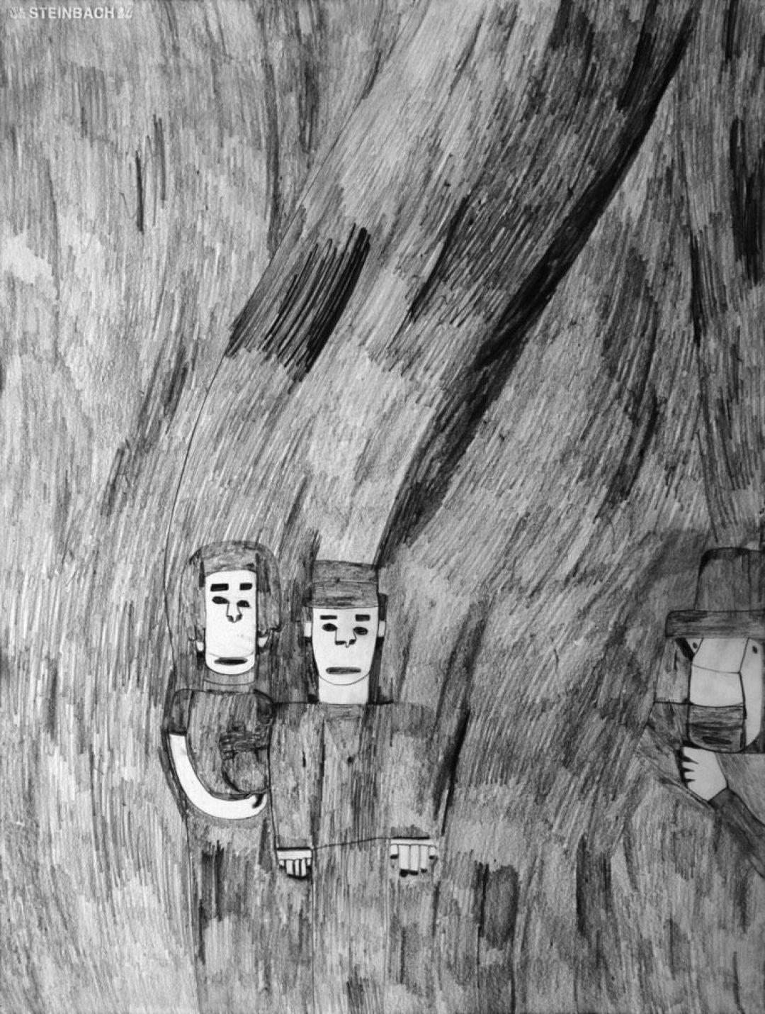 Alexis Lippstreu, Sans titre, nd, crayons gris sur papier, 73 x 55 cm