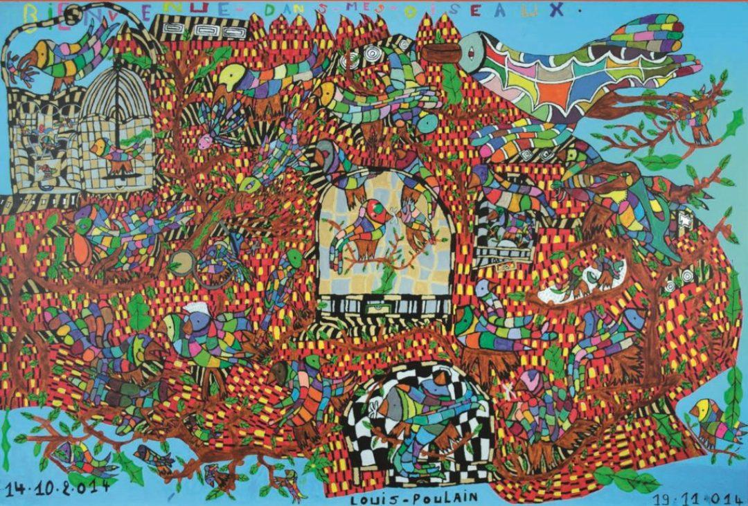 Louis Poulain, sans titre (Bienvenue dans mes oiseaux), 2014, peinture acrylique sur carton, 80 x 120 cm