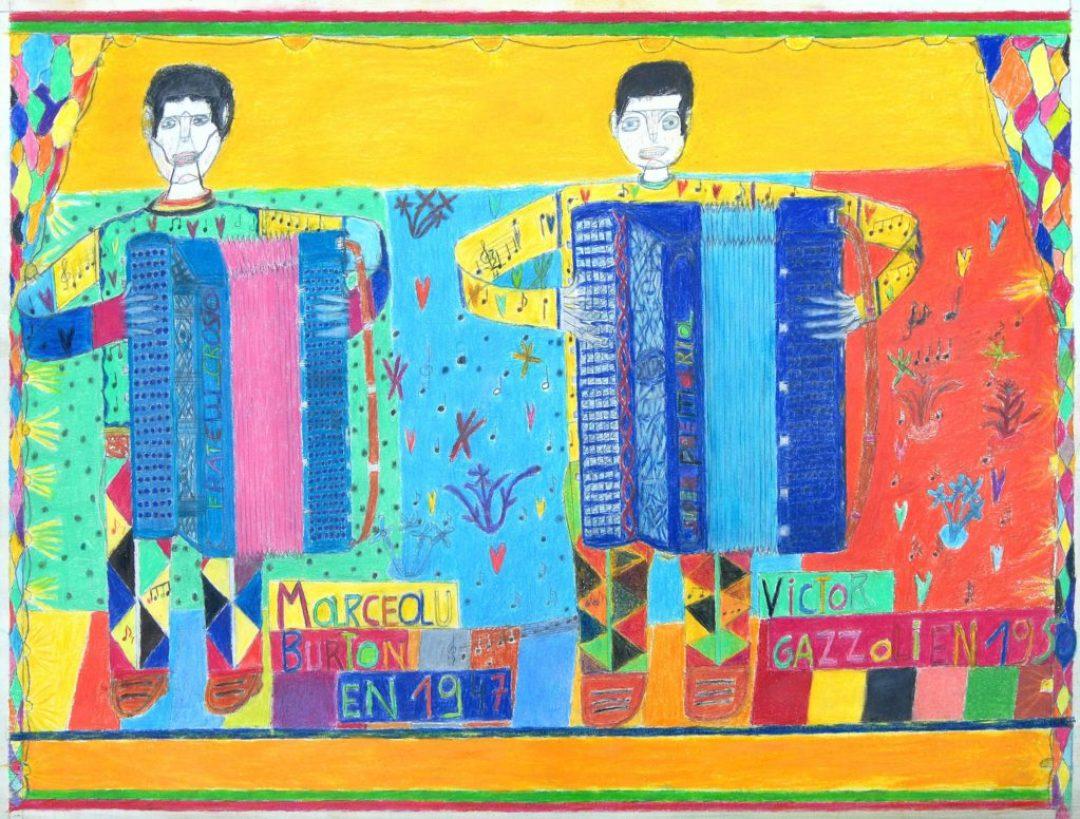 Oscar Haus, Les Marceau Burton et Victor Gazzoli, 2007, crayons de couleur sur papier, 55 x 73 cm