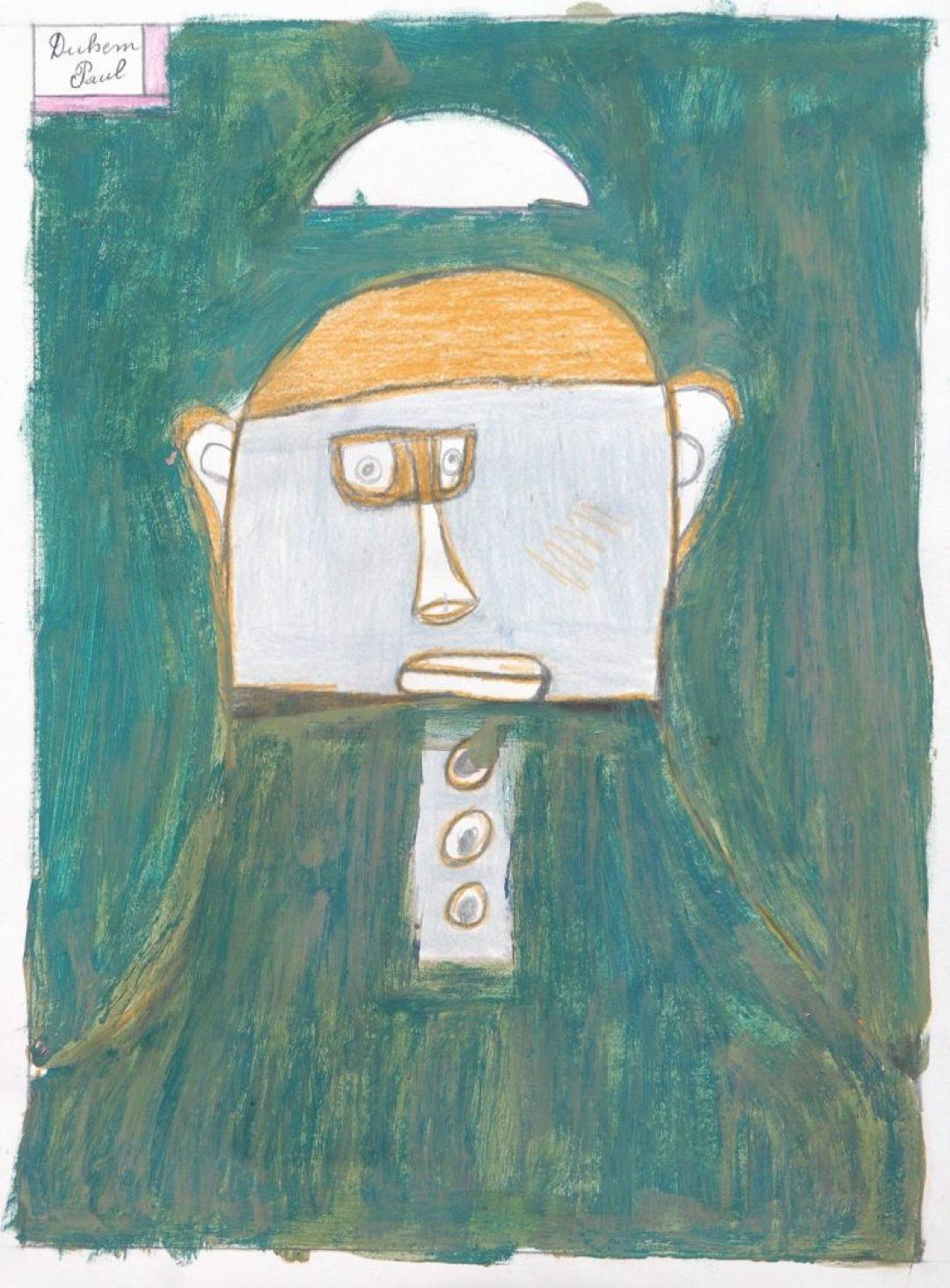 Paul Duhem, sans titre, 1999, crayons de couleur, pastel gras et peinture à l'huile sur papier, 40 x 29,7 cm