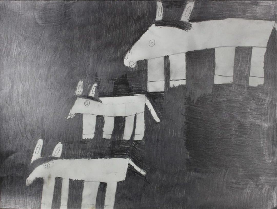 Ludivine Flips, 2017, crayon gris sur papier, 55 x 73cm