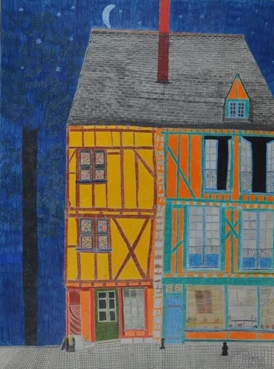 Maurice Brunswick, Sans titre, nd, crayon de couleur sur papier, 73 x 55 cm