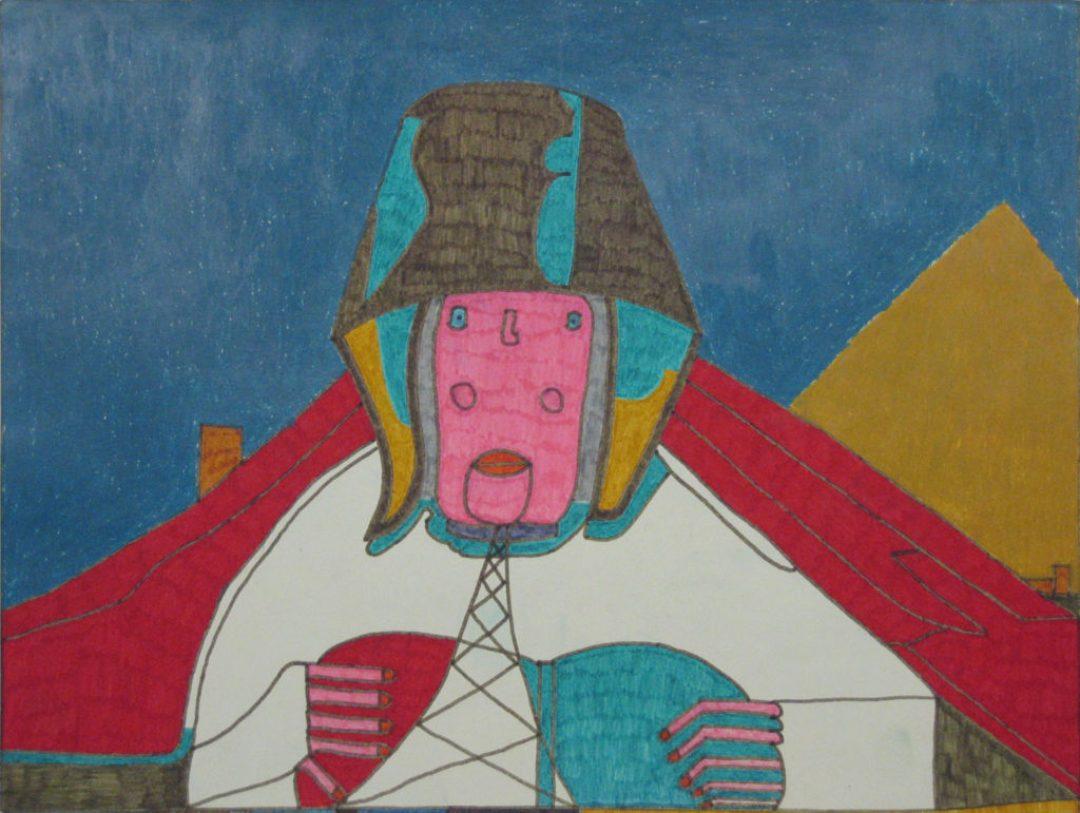 Georges Cauchy, Sans titre, 2000, marqueur sur papier, 30 x 40 cm