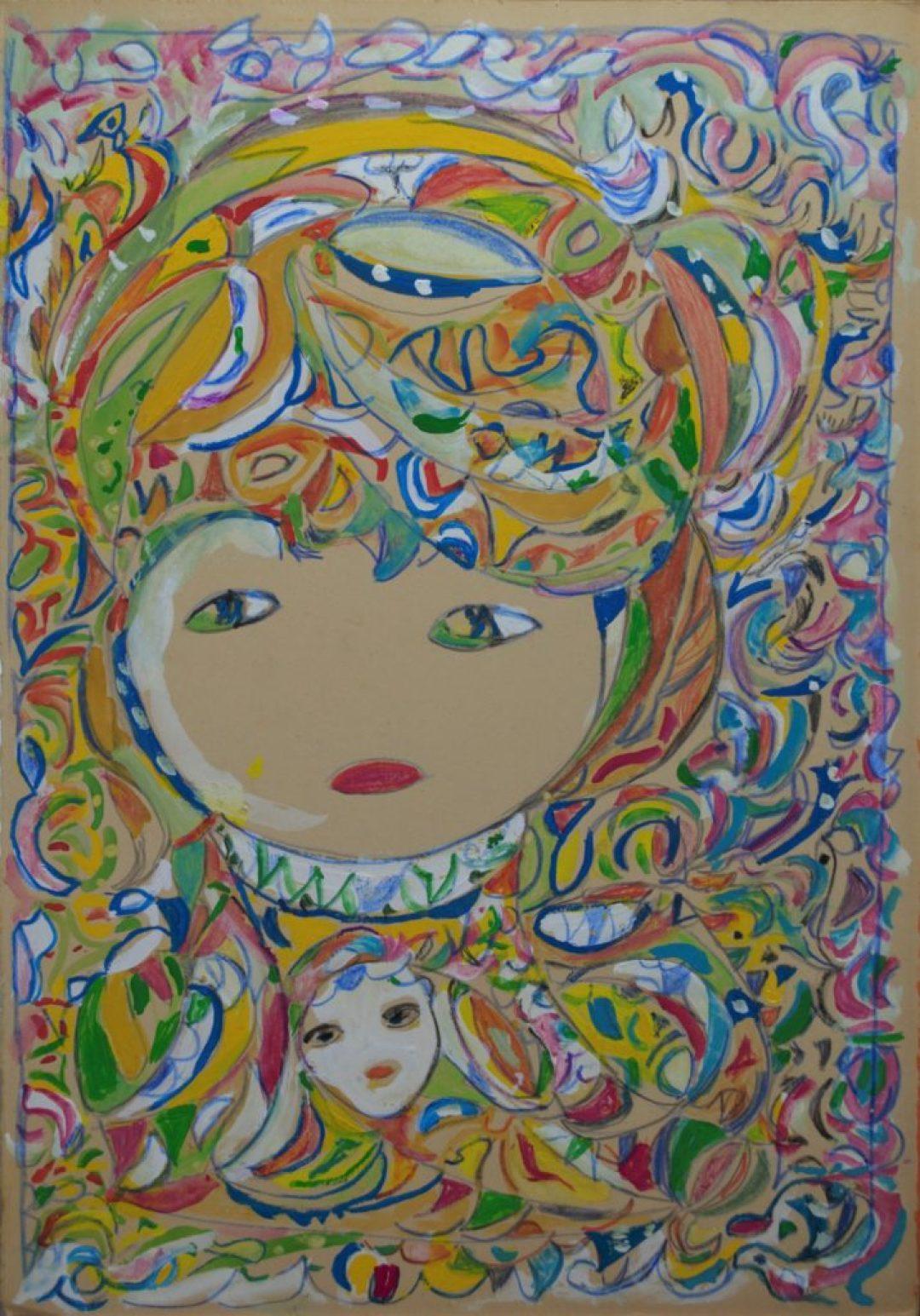 Martha Grünenwaldt, sans titre, nd, dessin au crayon gris, crayons de couleur et gouache sur papier, 48 x 34 cm
