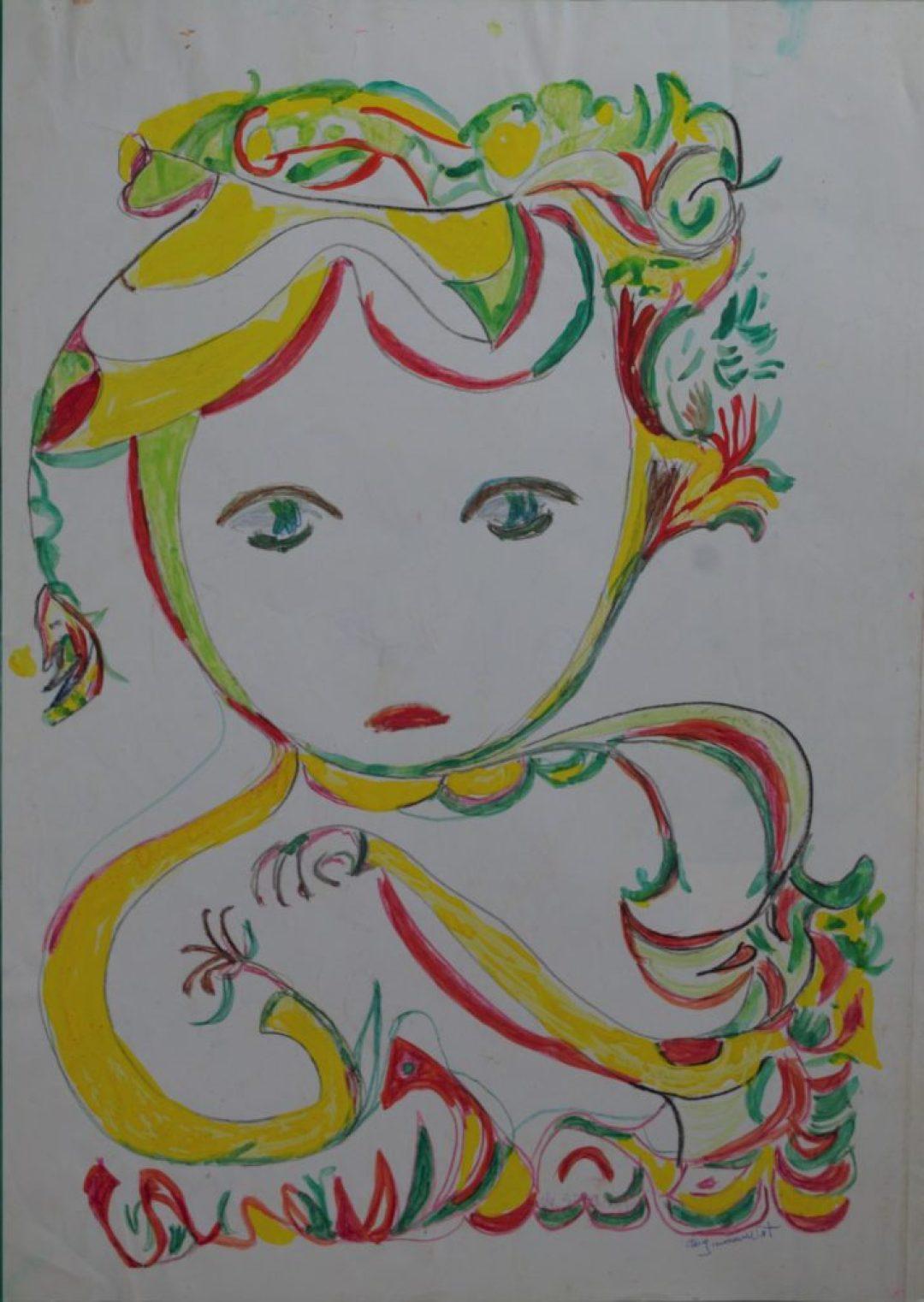 Martha Grünenwaldt, sans titre, nd, dessin au crayon gris, crayons de couleur et gouache sur papier, 42 x 30 cm