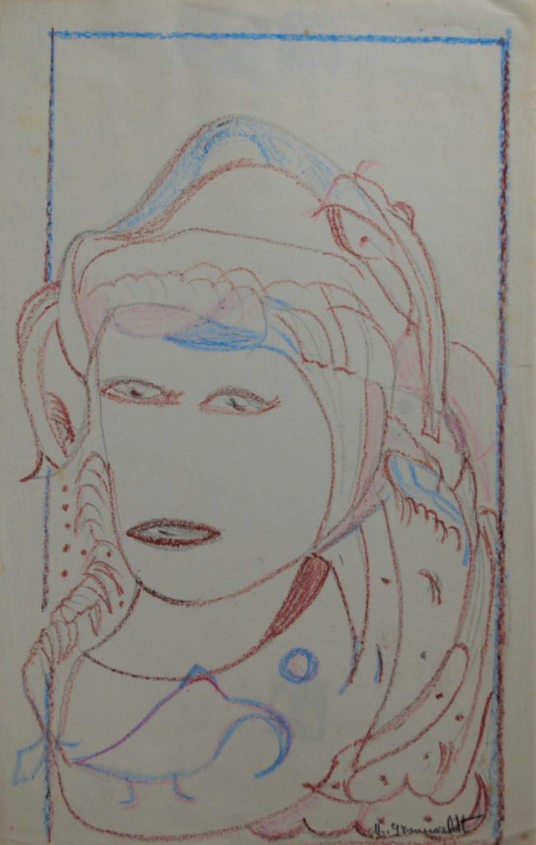 Martha Grünenwaldt, sans titre, nd, dessins aux crayons de couleur sur papier, 34 x 21,5 cm
