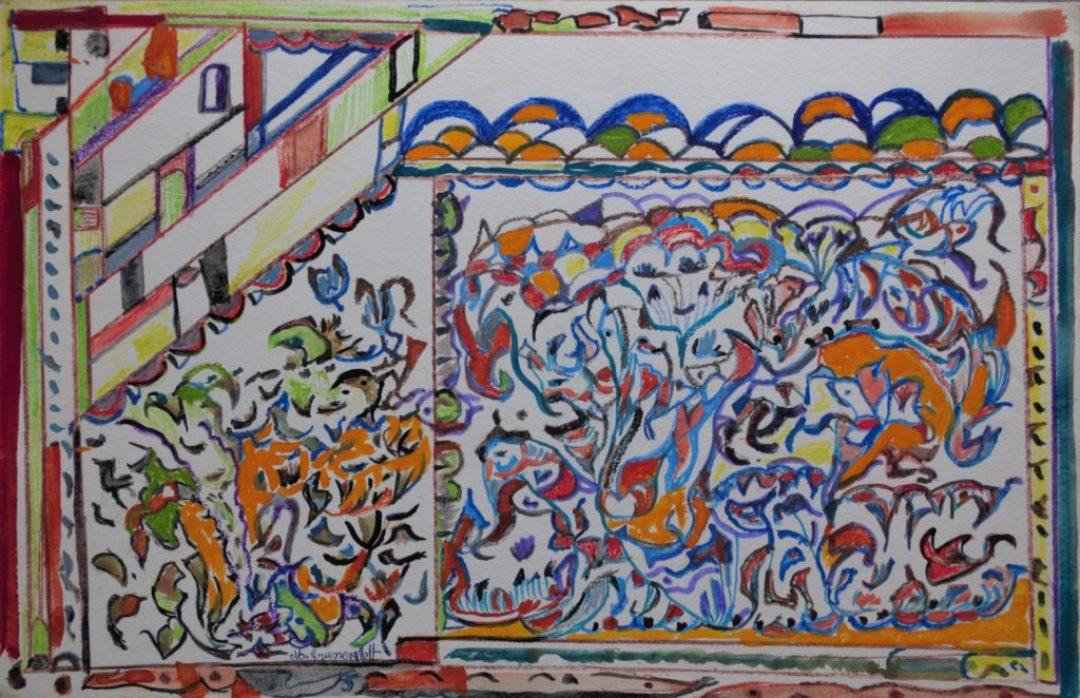 Martha Grünenwaldt, sans titre, nd, dessin aux crayons de couleur et gouache sur papier, 32,5 x 50 cm