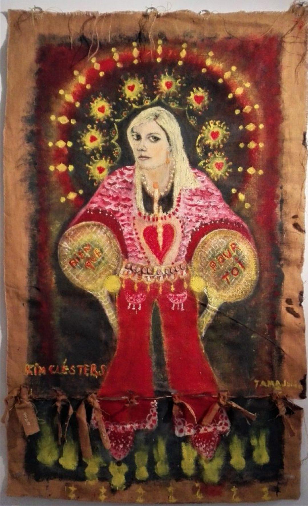 Julien Tama, Kim Clijsters, nd, peinture sur toile de jute, 178 x 108 cm