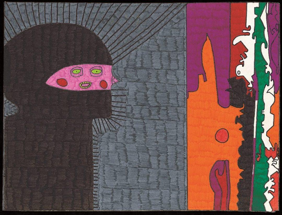 Georges Cauchy, Sans titre, 2000, marqueurs sur papier, 30 x 40 cm