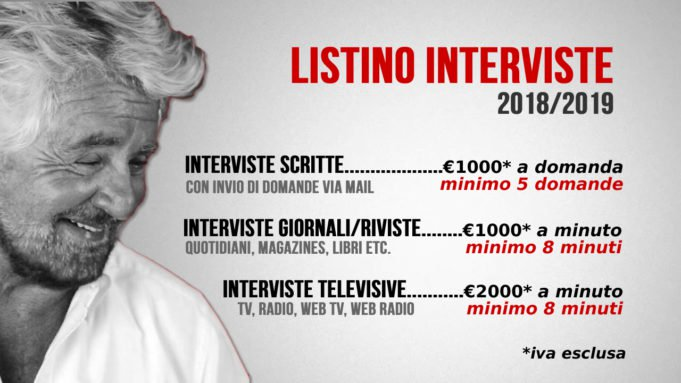 Tutto ha un prezzo. Anche Beppe Grillo.