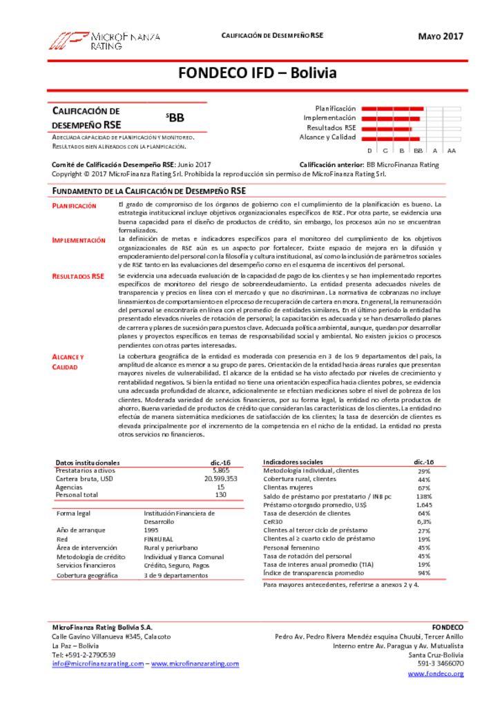 thumbnail of FONDECO, Informe Final calificación RSE DIC16