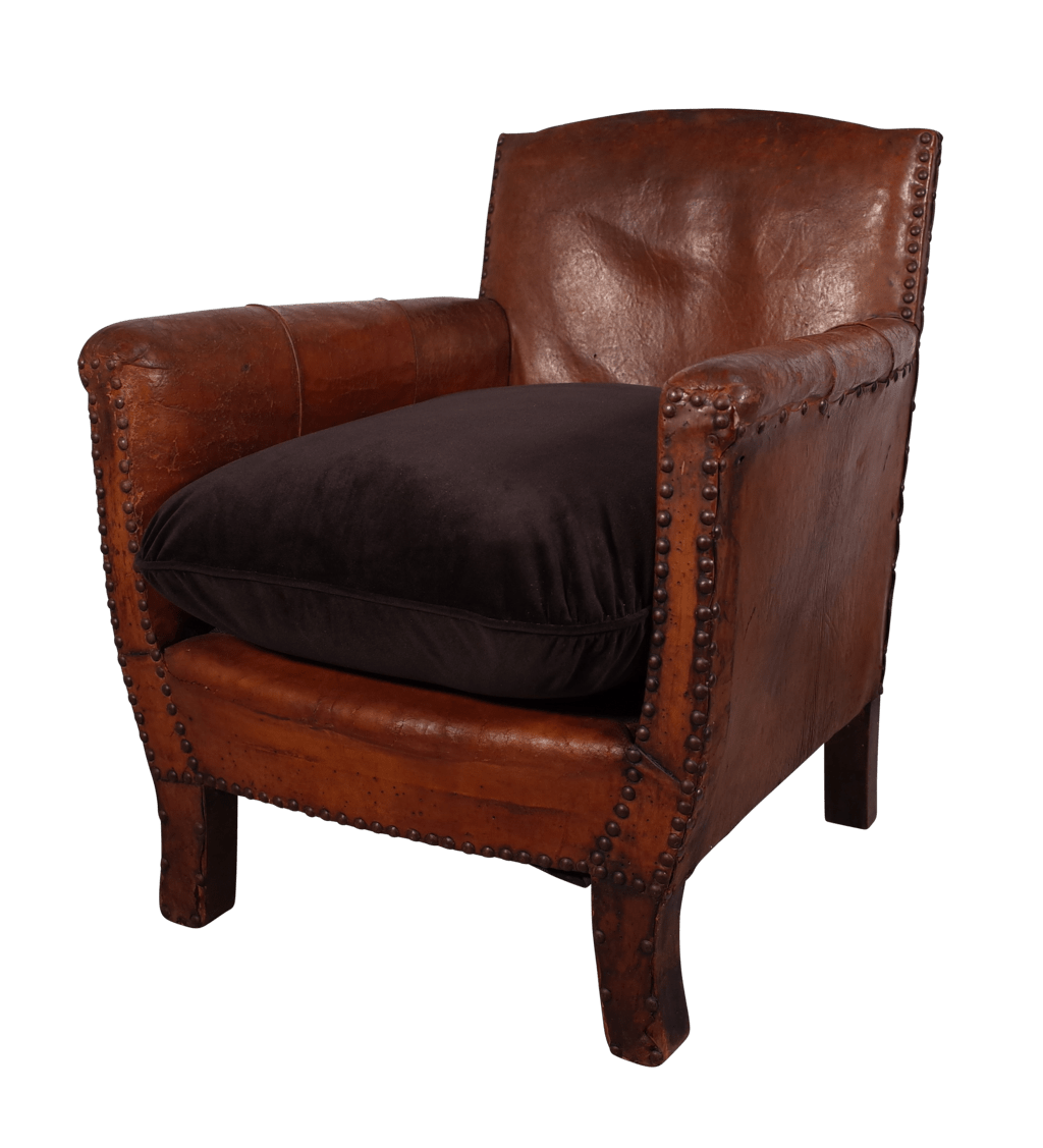Small Leather Club Chair Small Leather Club Chair With Velvet Cushion Fontaine