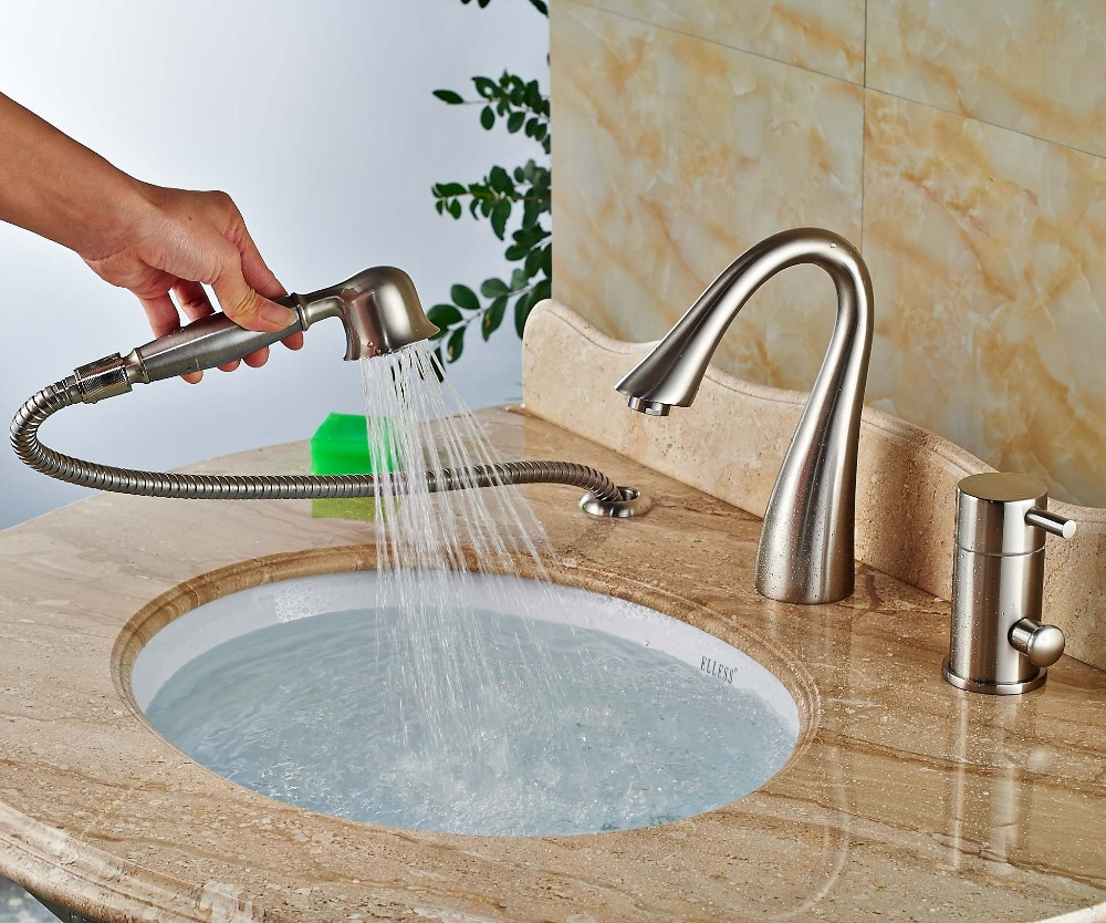 Modern Faucets For Bathroom Sinks Laconian Brushed Nickel Bathroom Sink Faucet With Handheld Shower