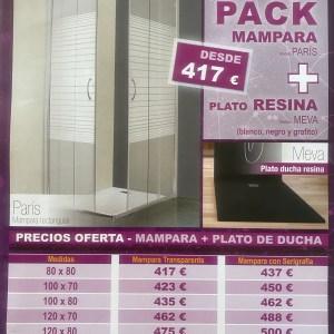 Promoción Pack MAMPARA+PLATO DUCHA RESINA
