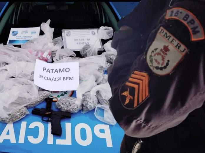 Na ação foram apreendidos 295 pinos de cocaína e 2.310 tabletes pequenos de maconha. Foto: PM/Divulgação