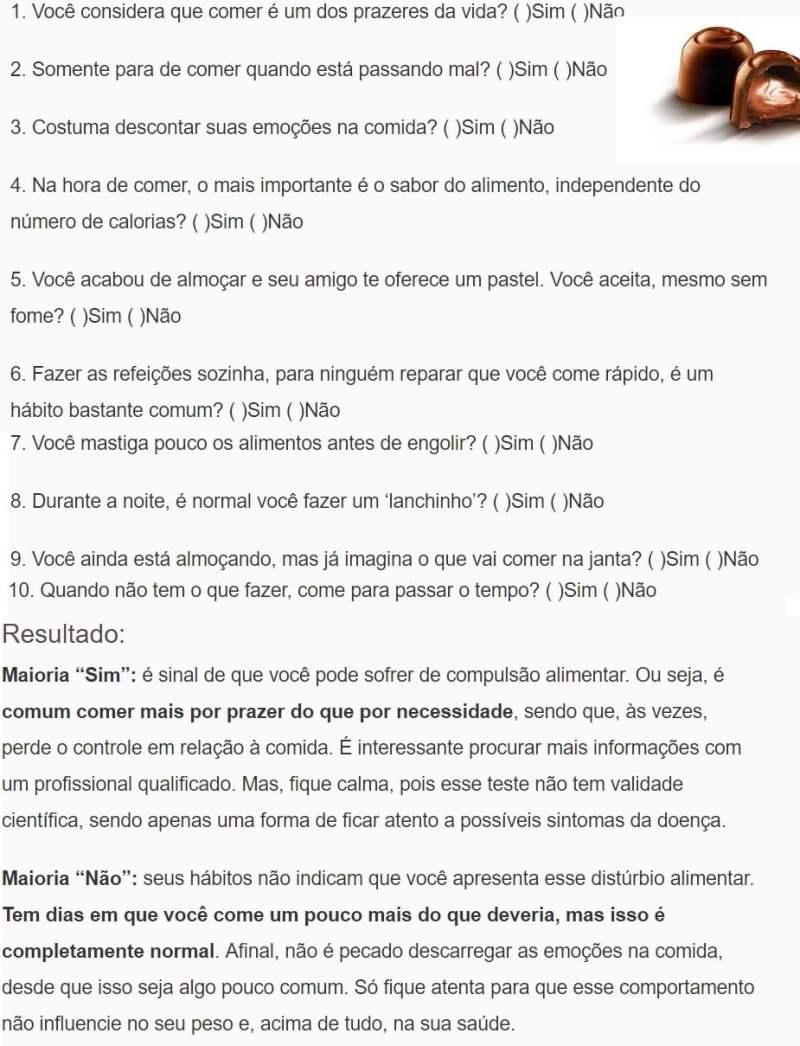 TESTE COMPULSÃO ALIMENTAR 1 - Compulsão alimentar: saiba tudo sobre essa doença