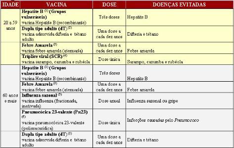 vacinação tabela 2 - Vacinação: veja quais são os benefícios e tabela com vacinas!