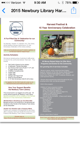 Flyer ~ Harvest Festival and 15 Year Anniversary Celebration