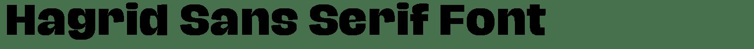 Hagrid Sans Serif Font