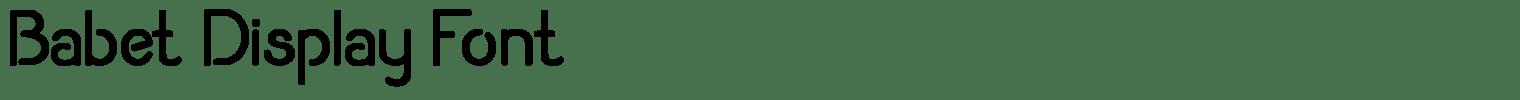 Babet Display Font