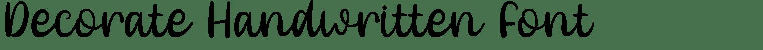 Decorate Handwritten Font