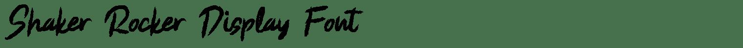 Shaker Rocker Display Font