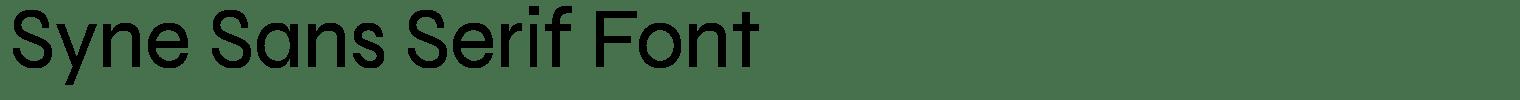Syne Sans Serif Font