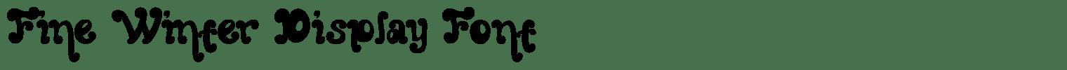 Fine Winter Display Font