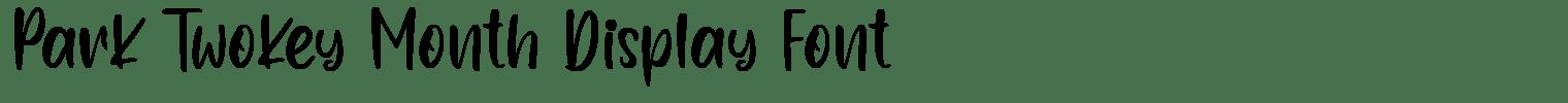Park Twokey Month Display Font
