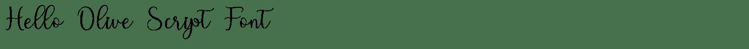 Hello Olive Script Font