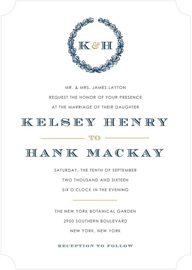 lasting laurel wedding invitation
