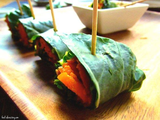 vegan sushi-collard rolls
