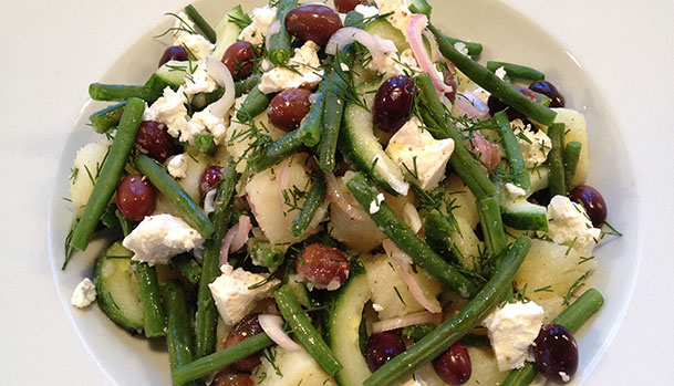 Potato salad with feta and olives