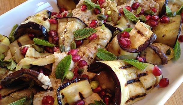 Aubergine and hummus salad