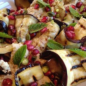 Aubergine and hummus salad