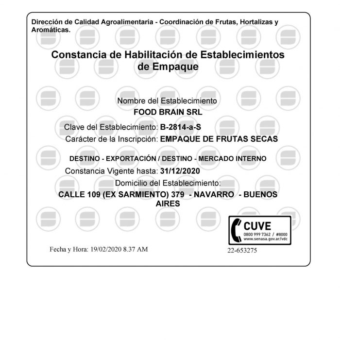 Certificaciones Food Brain SRL
