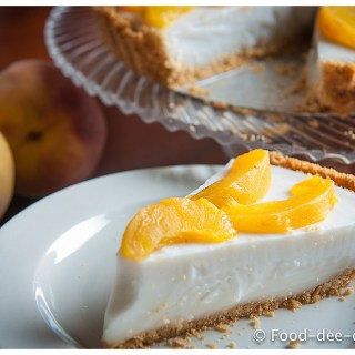 Coconut Flan Pudding with Peaches