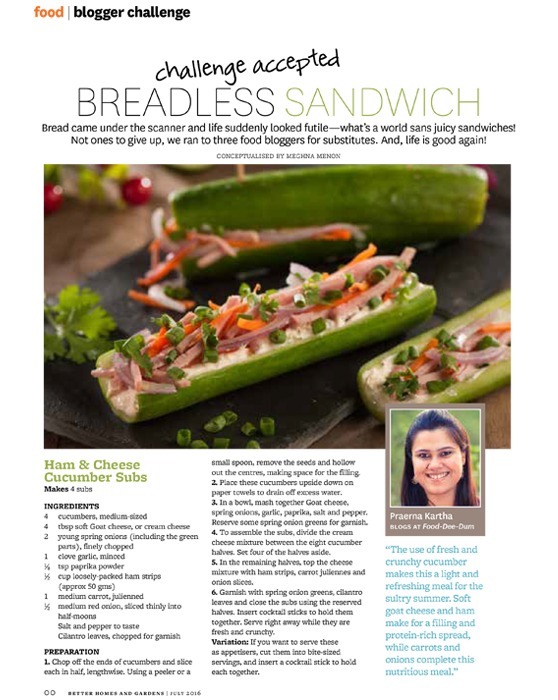 Ham cheese cucumber subs breadless sandwich challenge Bhg recipes may 2016