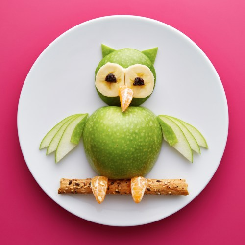 Food for kids - funny owl with apple, banana and tangerine