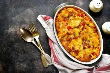 Morgenmadsgryde med skinke og ost