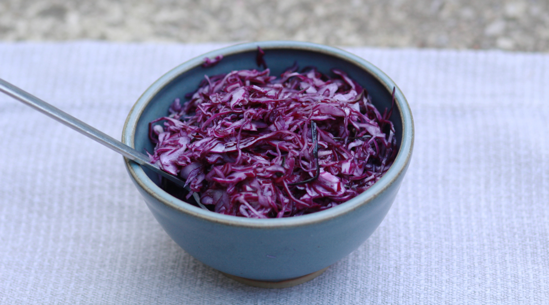 shredded red cabbage in a bowl